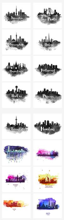 水墨中式城市插画