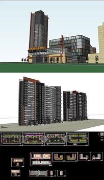 多层综合体SU模型含CAD