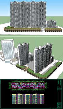 高层建筑草图SU模型CAD