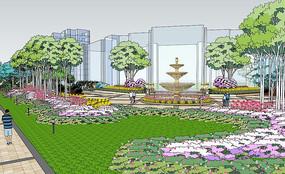 小区景观布置展示SU模型