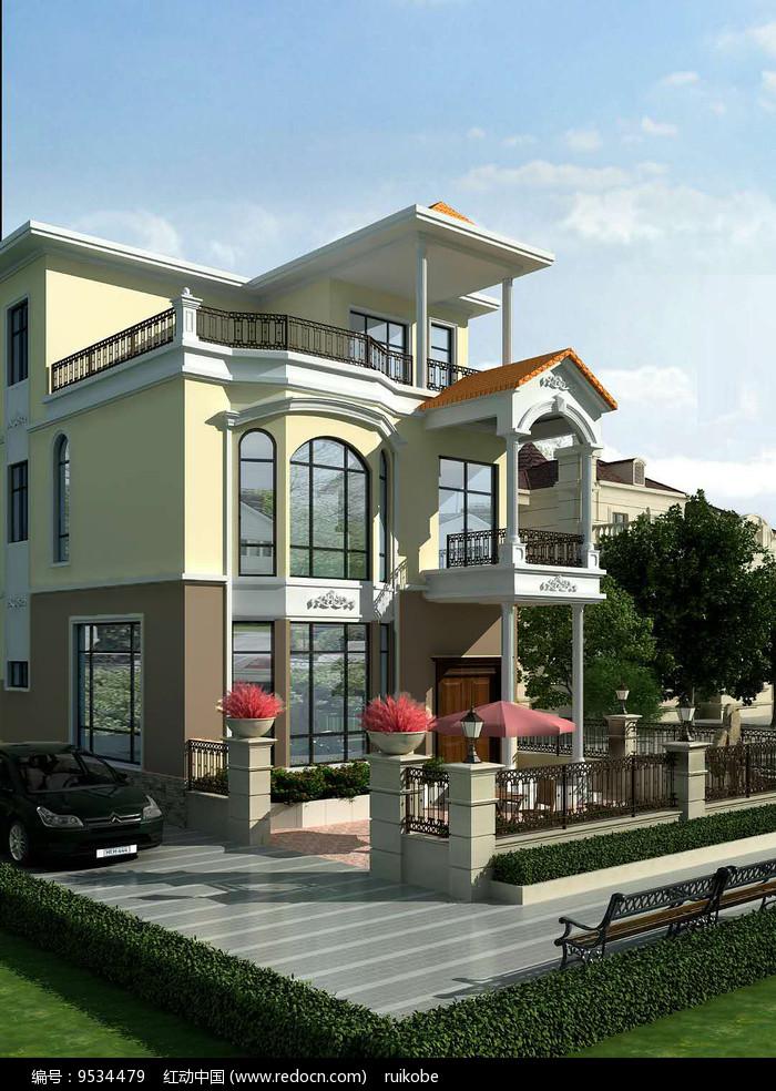 自建房别墅外观3d模型效果图图片
