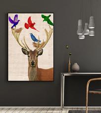 北欧风手绘麋鹿装饰画