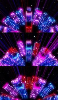 彩色发光建筑背景视频