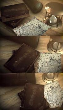 复古探险地图旧书背景视频