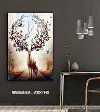 欧美梦幻麋鹿装饰画