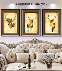 欧美水彩麋鹿装饰画