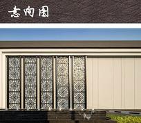 现代金属花纹景墙