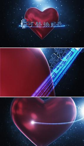 3d红色爱心婚礼片头模板