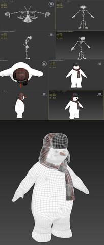 fbx模型-雪人-蒙皮
