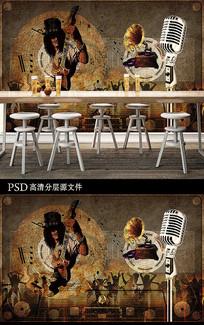 复古音乐酒吧背景墙装饰画
