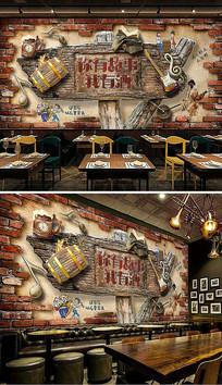 复古砖墙金属音符酒吧背景墙