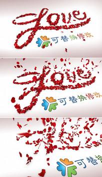 玫瑰花瓣婚礼情人节片头模板