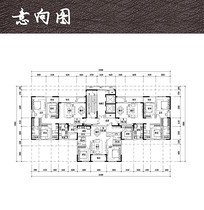 三室两厅两卫平面图 JPG
