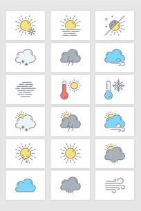 矢量极简线条天气预报元素