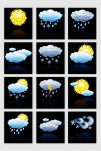 手绘天气预报矢量图标