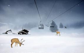 北欧简约手绘森林麋鹿背景墙