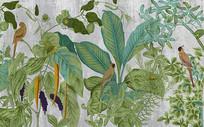 手绘风热带树叶芭蕉叶装饰画