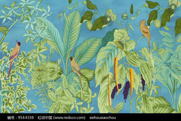 北欧手绘热带树叶芭蕉叶装饰画_红动网图片