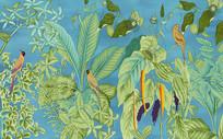 北欧手绘热带树叶芭蕉叶装饰画