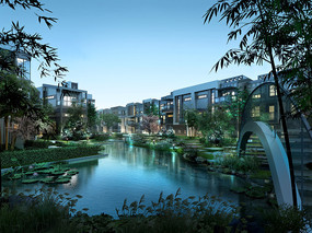 杭州某住宅小区池塘PSD