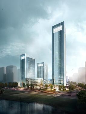 某办公楼建筑PSD鸟瞰图 PSD