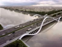 某创意桥鸟瞰3D模型