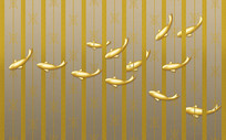 欧式金色条纹金鱼北欧花纹背景墙