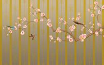新中式手绘工笔花鸟条纹装饰画