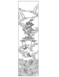 学校浮雕线稿鱼跃龙门插画