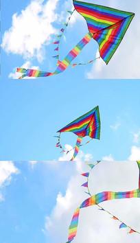 蓝天下风筝飞行实拍视频素材