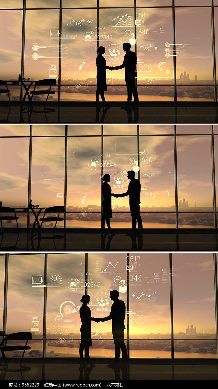 商务人士合作握手视频图片