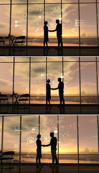 商务人士合作握手视频