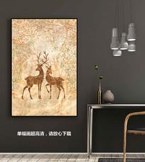 北欧迷彩麋鹿装饰画