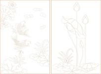 荷花与鱼线描装饰图案