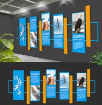 蓝色简约企业精神文化墙