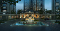 某住宅入口喷泉夜景3D模型