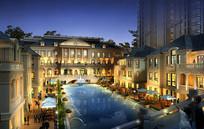 欧式住宅区夜景水池3D模型