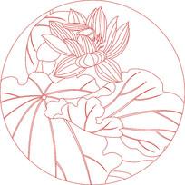 现代荷花纹装饰图案