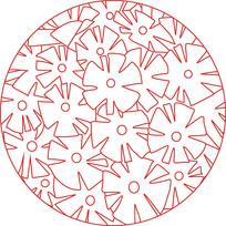 小花朵圆形装饰图案