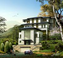 新中式别墅景观效果图 JPG