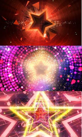 炫彩线条五角星舞台背景视频