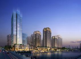 长沙某商业住宅区夜景3D模型