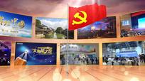 党旗国旗党政多图片照片墙展示ae模板