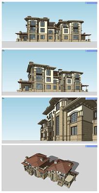 地中海风格双拼住宅建筑模型