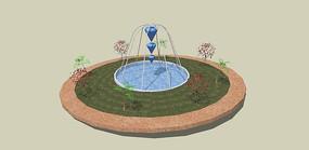 花池水景 skp