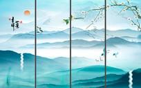 吉祥如意中式山水花鸟背景墙