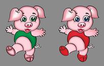 卡通猪矢量图