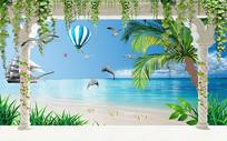 浪漫海景椰树风景马尔代夫背景墙