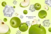 苹果和冰块背景素材