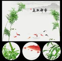时尚绿色竹子水墨山水背景墙